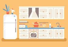 Κουζίνα με τα έπιπλα Άνετο εσωτερικό κουζινών με τη σόμπα, cupboa απεικόνιση αποθεμάτων