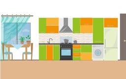 Κουζίνα με τα έπιπλα Άνετο εσωτερικό κουζινών με τον πίνακα, τη σόμπα, το ντουλάπι, τα πιάτα και το ψυγείο Επίπεδο διάνυσμα ύφους ελεύθερη απεικόνιση δικαιώματος