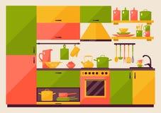 Κουζίνα με τα έπιπλα διανυσματική απεικόνιση