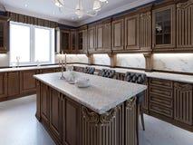 Κουζίνα με το νησί γρανίτη και ξύλο κερασιών cabinetry στοκ εικόνα με δικαίωμα ελεύθερης χρήσης