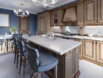 Κουζίνα με το νησί γρανίτη και ξύλο κερασιών cabinetry στοκ φωτογραφίες