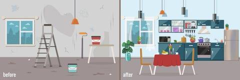 Κουζίνα πριν και μετά από την επισκευή απεικόνιση αποθεμάτων