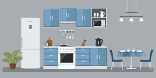 Κουζίνα σε ένα μπλε χρώμα διανυσματική απεικόνιση