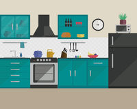 Κουζίνα στο επίπεδο ύφος με τα έπιπλα στοκ εικόνα με δικαίωμα ελεύθερης χρήσης