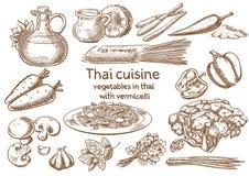 κουζίνα Ταϊλανδός Λαχανικά σε Ταϊλανδό με vermicelli ingredientss Στοκ Φωτογραφίες