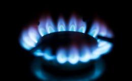Κουζίνα φλογών αερίου κύκλων στο σπίτι Στοκ Εικόνες