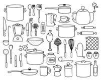 Κουζίνα doodle ελεύθερη απεικόνιση δικαιώματος