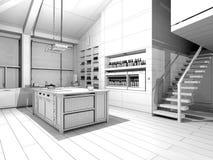 Κουζίνα Wireframe Στοκ Εικόνα