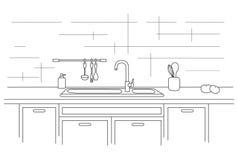 Κουζίνα worktop με το νεροχύτη Γραμμική απεικόνιση Στοκ Φωτογραφίες