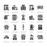 Κουζινών μικρά εικονίδια glyph συσκευών επίπεδα Σημάδια οικιακών μαγειρεύοντας εργαλείων Εξοπλισμός προετοιμασιών τροφίμων - μπλέ απεικόνιση αποθεμάτων