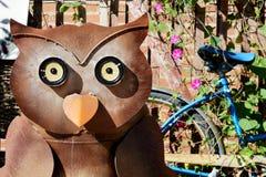 Κουκουβάγια και μπλε ποδήλατο στοκ εικόνες