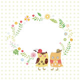 Κουκουβάγια και λουλούδια Στοκ Εικόνες