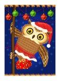 Κουκουβάγια με το δώρο Χριστουγέννων ελεύθερη απεικόνιση δικαιώματος