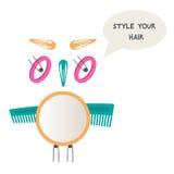 Κουκουβάγια φιαγμένη από εξαρτήματα τρίχας Γίνετε hairstyle Καθρέφτης, καρφίτσες τρίχας, βούρτσα γηα τα μαλλιά απεικόνιση αποθεμάτων