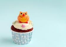 Κουκουβάγια cupcake Στοκ Εικόνα