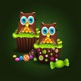 Κουκουβάγια Cupcakes απεικόνιση αποθεμάτων