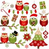 Κουκουβάγιες Χριστουγέννων Στοκ Εικόνες