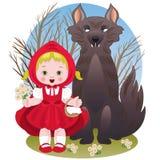 κουκούλα λίγος κόκκινος λύκος οδήγησης ελεύθερη απεικόνιση δικαιώματος