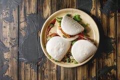 Κουλούρια bao Gua με το χοιρινό κρέας Στοκ Εικόνα