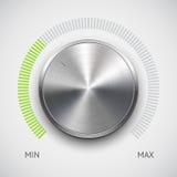 Κουμπί έντασης του ήχου (εξόγκωμα) με τη σύσταση μετάλλων (χρώμιο) Στοκ φωτογραφίες με δικαίωμα ελεύθερης χρήσης