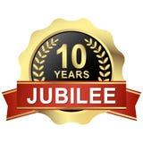κουμπί 10 έτη ιωβηλαίου Στοκ Εικόνες