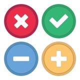 Κουμπί για την περιοχή Σημάδια συν, το μείον, checkmark και σταυρός Στοκ φωτογραφία με δικαίωμα ελεύθερης χρήσης