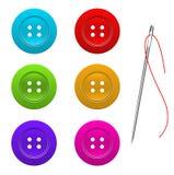 Κουμπί για το διάνυσμα ενδυμάτων και βελόνων Στοκ Εικόνες