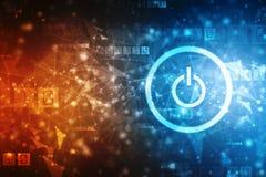 Κουμπί δύναμης στο ψηφιακό υπόβαθρο απεικόνιση αποθεμάτων