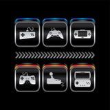 Κουμπί εικονιδίων θέματος κονσολών παιχνιδιών μεταλλικών πιάτων διανυσματική απεικόνιση