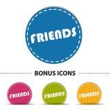 Κουμπί Ιστού φίλων - ζωηρόχρωμη διανυσματική απεικόνιση - που απομονώνεται στο λευκό Στοκ Εικόνες