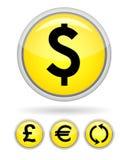 κουμπί κίτρινο Στοκ Εικόνες