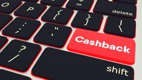 Κουμπί με τη λέξη Cashback lap-top πληκτρολογίων τρισδιάστατη απόδοση ελεύθερη απεικόνιση δικαιώματος