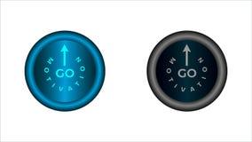 Κουμπί με τις λέξεις: το κίνητρο και πηγαίνει διανυσματική απεικόνιση