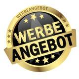 Κουμπί με το έμβλημα Werbeangebot Στοκ φωτογραφίες με δικαίωμα ελεύθερης χρήσης