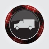 Κουμπί με το κόκκινο, μαύρο ταρτάν - van car εικονίδιο Στοκ εικόνες με δικαίωμα ελεύθερης χρήσης