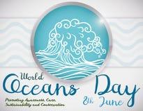 Κουμπί με το κύμα και μερικά εντάλματα για την ημέρα παγκόσμιων ωκεανών, διανυσματική απεικόνιση Στοκ Εικόνα