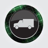 Κουμπί με το πράσινο, μαύρο ταρτάν - van car εικονίδιο Στοκ Φωτογραφίες