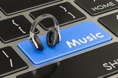 Κουμπί μουσικής, μπλε κλειδί στο πληκτρολόγιο με τα ακουστικά τρισδιάστατη απόδοση διανυσματική απεικόνιση