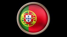 Κουμπί σημαιών της Πορτογαλίας που απομονώνεται στο Μαύρο απεικόνιση αποθεμάτων