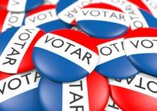 Κουμπί ψηφοφορίας στα ισπανικά απεικόνιση αποθεμάτων