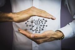 Κουμπί ώθησης προσώπων με το νόμισμα δολαρίων Στοκ Εικόνες