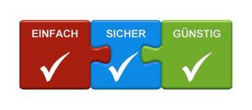 3 κουμπιά γρίφων που παρουσιάζουν εύκολα ασφαλή φτηνά γερμανικά ελεύθερη απεικόνιση δικαιώματος