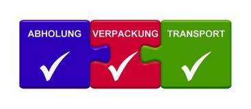 3 κουμπιά γρίφων που παρουσιάζουν τη συλλογή, τη συσκευασία και μεταφορά γερμανικά απεικόνιση αποθεμάτων