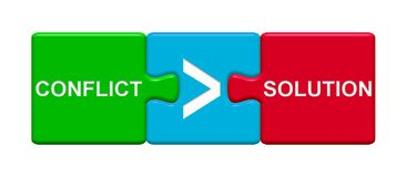 3 κουμπιά γρίφων που παρουσιάζουν τη σύγκρουση και λύση απεικόνιση αποθεμάτων