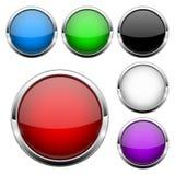 Κουμπιά γυαλιού καθορισμένα Ο λαμπρός κύκλος χρωμάτισε τα τρισδιάστατα εικονίδια Ιστού απεικόνιση αποθεμάτων