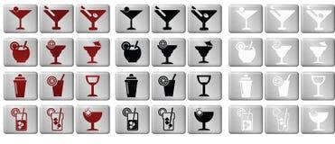 Κουμπιά εικονιδίων κοκτέιλ Στοκ Εικόνες