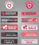 Κουμπιά, διακριτικά και εμβλήματα promo ημέρας βαλεντίνων στοκ εικόνα