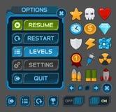 Κουμπιά διεπαφών που τίθενται για τα διαστημικά παιχνίδια ή apps Στοκ Φωτογραφία