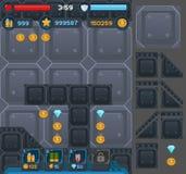 Κουμπιά διεπαφών που τίθενται για τα διαστημικά παιχνίδια ή apps Στοκ εικόνες με δικαίωμα ελεύθερης χρήσης