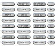 Κουμπιά ιστοχώρου και εικονίδια χάλυβα Στοκ εικόνα με δικαίωμα ελεύθερης χρήσης
